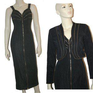 1980s Rocker Body Con Zip Up Fitted Dress w,Jacket